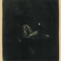 Rembrandt Etching, Bartch B. 148, Student at a table by candlelight
