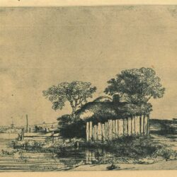 Rembrandt Etching, Bartch B. 232, Cottage with a white paling