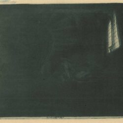 Rembrandt Etching, Bartch B. 105, St. Jerome in a dark chamber