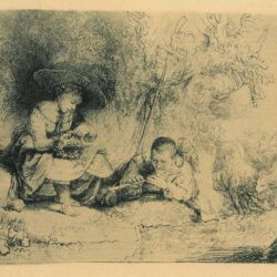 Rembrandt Etching, Bartch B. 188, The Flute Player