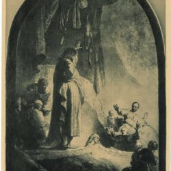 Rembrandt etching, Bartsch B. 73, The raising of Lazarus: the larger plate