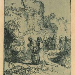 Rembrandt Etching, Bartsch B. 84, Christ carried to the tomb