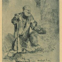 Rembrandt, Etching, Bartch B. 96, St. Peter in penitence