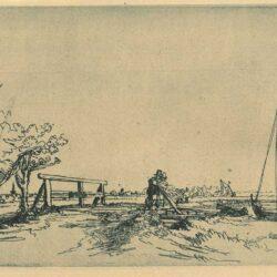 Rembrandt Etching, Bartch B. 208, 'Six's bridge'