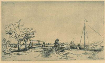 Rembrandt Etching, Bartch B. 208, 'Six's bridge'