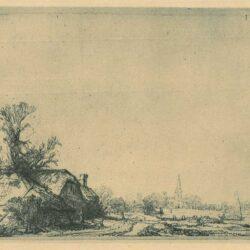 Rembrandt Ets Bartsch B. 228, Boerderijen aan een vaart
