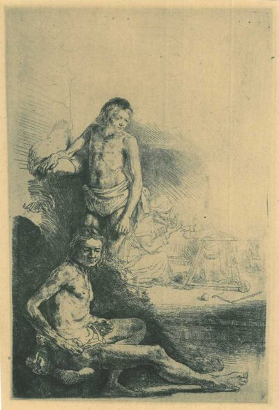 """Rembrandt etching, Bartsch B. 194. A young man seated and standing [The walking trainer] or """"rolwagentje"""""""