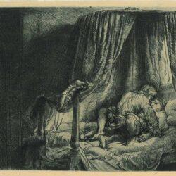 Rembrandt etching, Bartsch B. 186. Het ledikant
