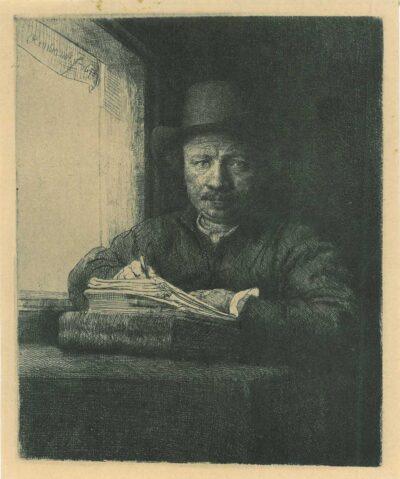 Rembrandt, etching, Bartsch B. 22, Zelfportret tekenend aan een venster