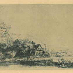 Rembrandt Etching Bartsch 237, New Hollstein 251, copy c, Landscape with a drinking cow
