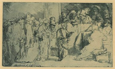 Rembrandt, etching, Bartsch B. 65, Christ seated disputing with the doctors