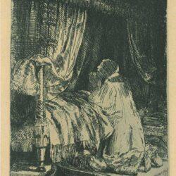 Rembrandt, etching, Bartsch B. 41, David in prayer