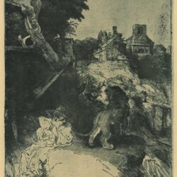 Rembrandt, etching, Bartsch B. 104, St. Jerome reading in an Italian landscape