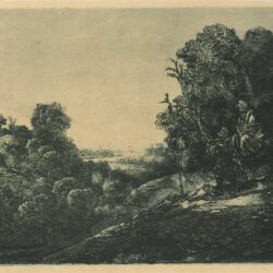 Rembrandt, etching, Bartsch B. 56, The rest on the flight: altered from Seghers