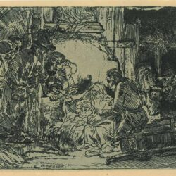 Rembrandt, etching, Bartsch B. 45, The adoration of the shepherds: with the lamp
