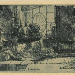 Rembrandt, etching, Bartsch B. 63, The Virgin and the child with the cat and snake