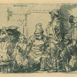 Rembrandt, etching, Bartsch B. 64, Christ seated disputing with the doctors