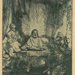 Rembrandt etching, Bartsch B. 87, Christ at Emmaus: the larger plate
