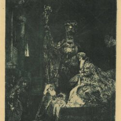 Rembrandt etching, Bartsch B. 50, The presentation in the Temple in the dark manner
