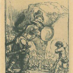 Rembrandt Ets, Bartsch 36, Four illustrations to a Spanish book, David en Goliath