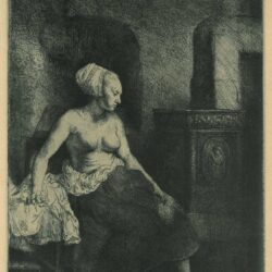 Rembrand Etching, Bartch B. 197, Woman sitting half dressed beside a stove