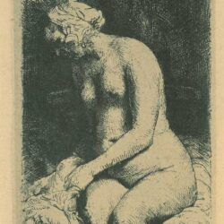 Rembrandt Etching, Bartch B. 200, Seated naked woman ['Woman bathing her feet at a brook']