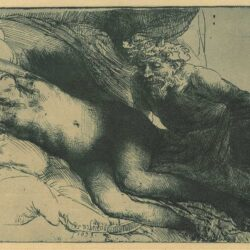 Rembrandt, etching, Bartsch B. 203, Jupiter and Antiope: the larger plate