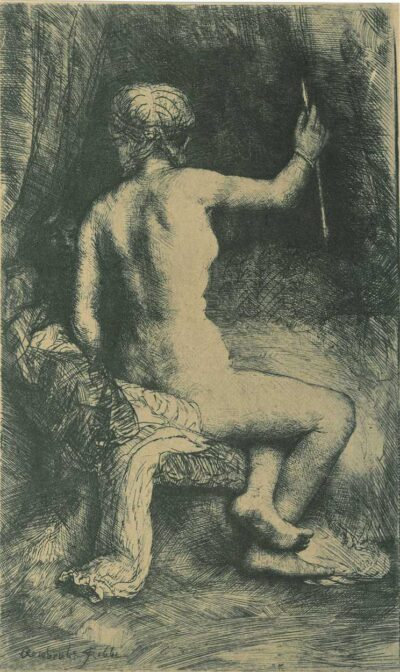 Rembrandt Etching, Bartch B. 202, The woman with the arrow [Venus and Cupid]