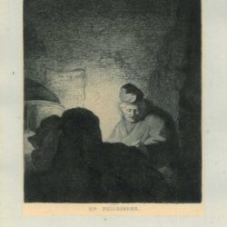 Rembrandt painting, A man reading by candlelight