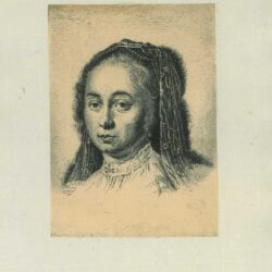Rembrandt etching, drawing, painting, Head of a young woman, slightly turned to left, with hair adorned with pearls and veil, and pearl earrings