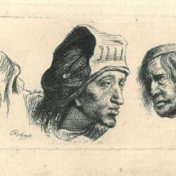 Rembrandt, Drawing, etching, Three head studies, on white ground; woman with head-dress, and two men