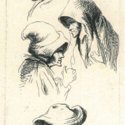 Rembrandt, drawing, etching, four studies of women's heads,