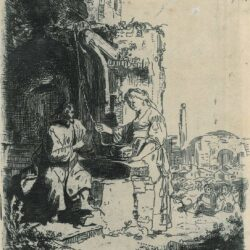 Rembrandt Etching Bartsch B. 71, New Hollstein 127, Christ and the woman of Samaria: among ruins