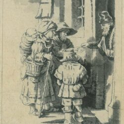 Beggars receiving alms at the door of a house, Rembrandt, Etching, Bartsch B. 176