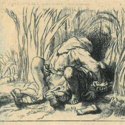 Rembrandt Etching, Bartsch B. 187, New Hollstein 231, The monk in the cornfield