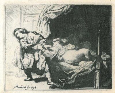 Rembrandt, Etching, Bartsch B. 39, Joseph and Potiphar's Wife