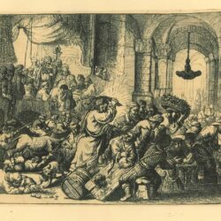 Rembrandt Etching, Bartch B. 69, Christ driving the moneychangers from the Temple