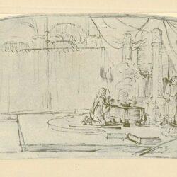 Rembrandt, tekening, De aartsengel Gabriël verkondigt aan Zacharias de geboorte van Johannes de Doper