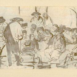 Rembrandt, tekening, hofstede de groot 213, Christus onder de schriftgeleerden