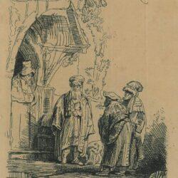 Rembrandt etching, Bartsch B. 118, New Hollstein 190, copy e, Three oriental figures [Jacob and Laban?]