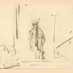 Rembrandt, tekening, hofstede de groot 230, een staande oosterse prins