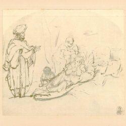 Rembrandt, tekening, hofstede de groot no. 237, Laban zoekt de afgodsbeelden bij Rachel