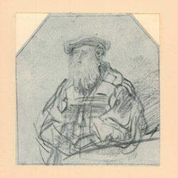 Rembrandt, tekening, hofstede de groot 247, Bebaarde oude man met baret