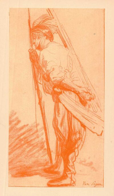 Rembrandt, tekening, Een oosterse krijger, naar links