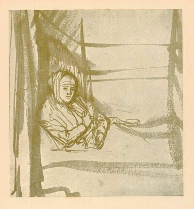 Rembrandt, tekening, hofstede de groot 255, Saskia in bed