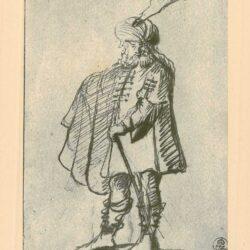 Rembrandt, tekening, hofstede de groot 249, Een staande oosterse vorst