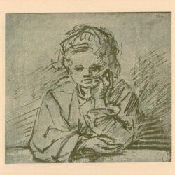 Rembrandt, tekening, hofstede de groot 253, een jong meisje bij een venster