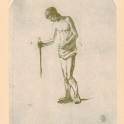 Rembrandt, tekening, hofstede de groot 250, Staand mannelijk naakt, met een stok in de rechter hand