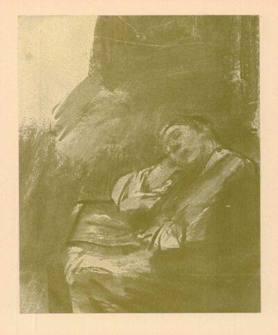Rembrandt, tekening, hofstede de Groot no 256, Een slapend meisje