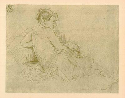 Rembrandt, tekening, hofstede de groot 254, Rustend vrouwelijk naakt, op de rug gezien